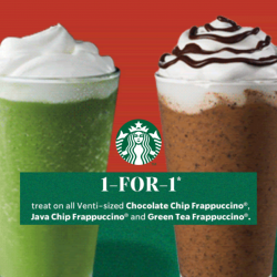 Starbucks: Enjoy 1-for-1 Venti-sized Chocolate Chip Frappuccino, Java Chip Frappuccino & Green Tea Frappuccino!